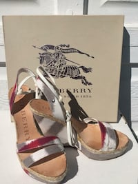 Burberry brown white sling back wedges EUR 38.5 comes with  box 3742 km