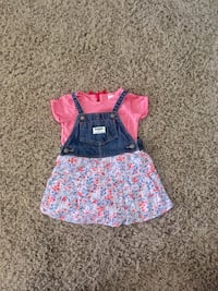 girl's blue and pink short-sleeved mini dress