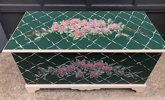 Beautiful Large Green with Pink flowered painted chest, storage trunk