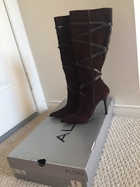 Pair of black leather knee-high boots Ajax, L1Z