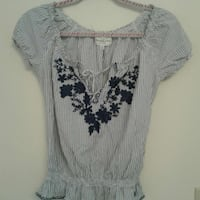 A&F pinstriped cap sleeve blouse