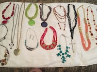 assorted beaded necklaces and bracelets