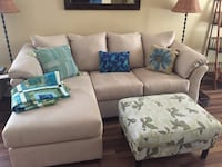 white fabric sectional sofa with throw pillows Providence Village, 76227