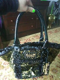 black and beige floral Betseyville tote bag