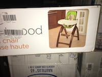 brown and white wooden high chair box