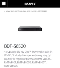 New Sony BDP-6500 Blueray DVD with wifi Toronto, M3C