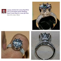 silver-colored Luxury Jewelry 8 ct white CZ stone encrusted wedding ring collage