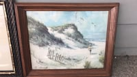 Brown wooden framed painting of beach scene! Pitman, 08071