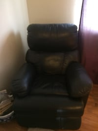 Black Italian  leather recliner sofa chair