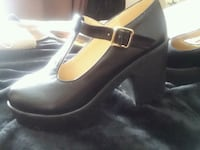 pair of black leather wedge shoes Westminster, 21158