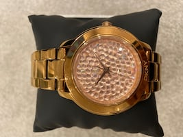 DKNY rose gold crystal watch