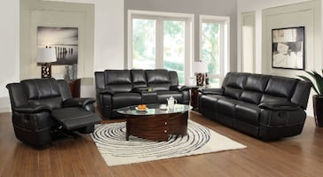 Lee Motion Black Leather Reclining Set*FREE DELIVERY FINANCING*