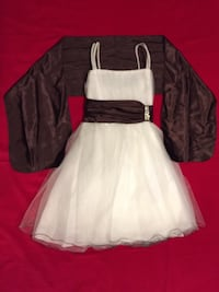 Dress for girls white and brown medium size   Burke, 22015