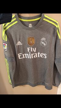 Real Madrid grey soccer jersey long sleeve (#7 Ronaldo)
