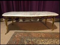 Bronze table, with marble top