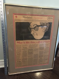 1968, ZOLF, vintage newspaper article. Rare! Professionally framed. Courtice, L1E 0H5