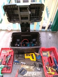 Tool box with wheels and assorted tools  Vancouver, V5N 2S1