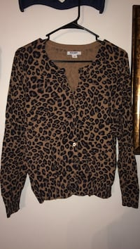 Black and brown leopard print button-up sweater  Gettysburg, 17325