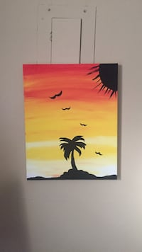 silhouette of birds on tree branch painting
