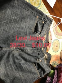 two pairs of gray and blue denim bottoms