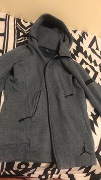 gray zip-up Air Jordan hoodie