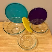 Pyrex mixing bowls WITH LIDS - set of 6 North Vancouver