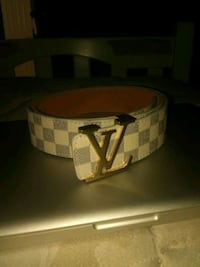 brown and black Louis Vuitton leather belt Haymarket, 20169