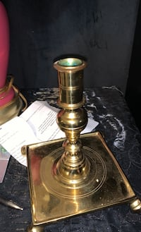 Beautiful very heavy stamped brass candle stick