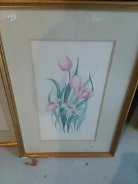brown-framed pink flowers painting
