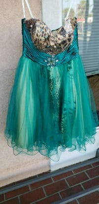 women's teal and silver strapless dress Gulfport, 39503