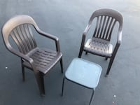two white plastic armchairs with white wooden base Vacaville, 95688