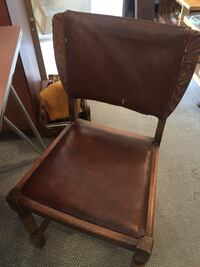 Leather and wood chair Harbert, 49125