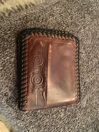Antique real leather graphic wallat 331 mi