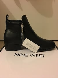 BRAND NEW Nine West Black Leather Ankle Boots Size 9- Waterproof
