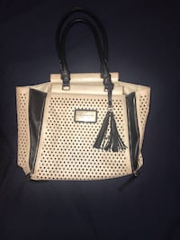 white and black leather tote bag Gaithersburg