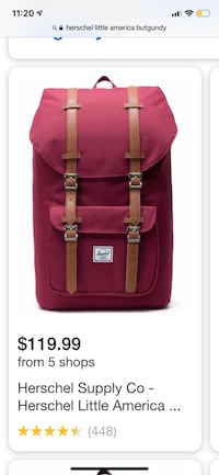 Herschel Little America Burgundy Backpack Bag Toronto, M5A 2S1