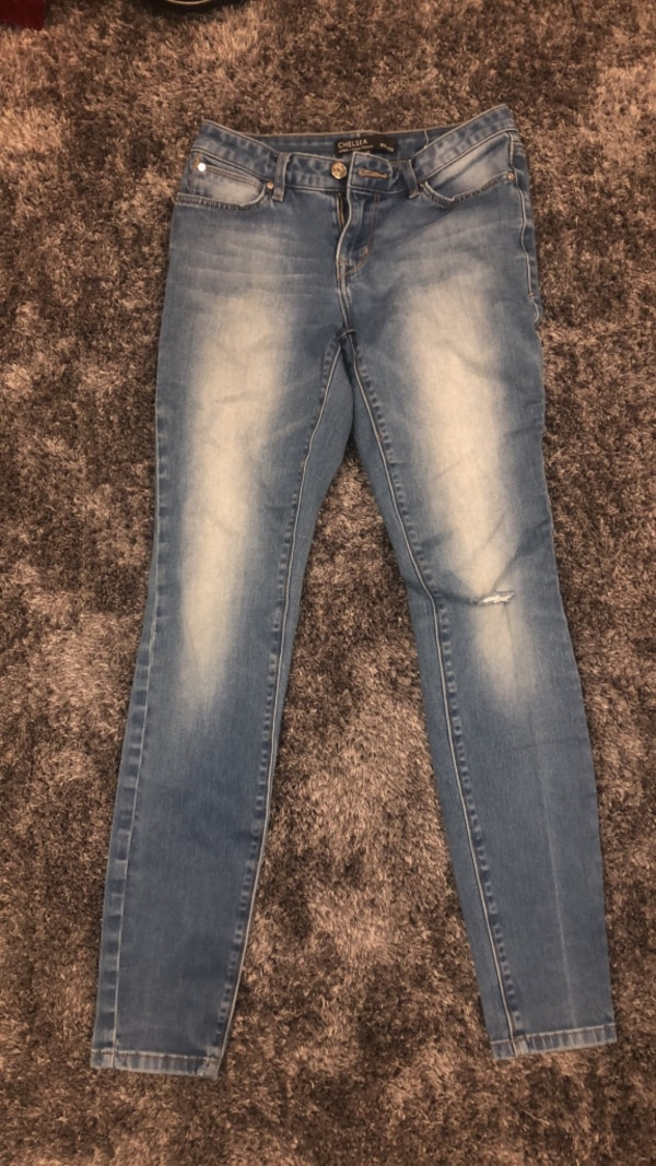 blue denim stone wash jeans