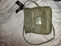 beige and brown snake leather crossbody bag