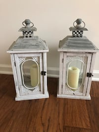 2 white washed lanterns with candles Ashburn