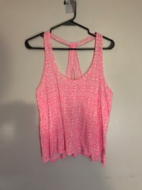 pink and white racerback tank top