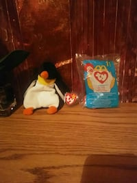 McDonalds TY Beanie Baby penguin plush toy with pack Aurora, 60505