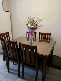 SOLID WOOD DINING TABLE 6 CHAIRS 779 km