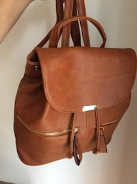 brown leather 2-way handbag Montreal