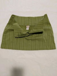 Green and white spandex striped skirt size small
