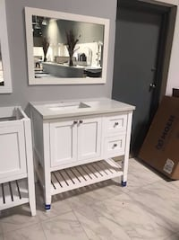 "36"" Single Sink open shelf bathroom vanity cabinet custom made quartz top with sink Fairfax"