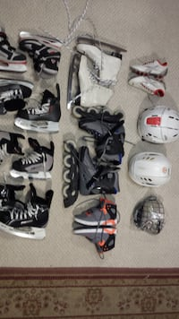 SKATES AND HELMETS SHOES TOO (NIKE\BAUER) RARELY USED