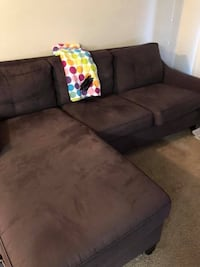Black suede sectional couch with ottoman Tampa, 33619