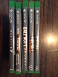 five Xbox One game cases Vancouver, V6A 1P8