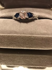 Beautiful! Sterling Silver White & Blue Sapphire Diamond Ring