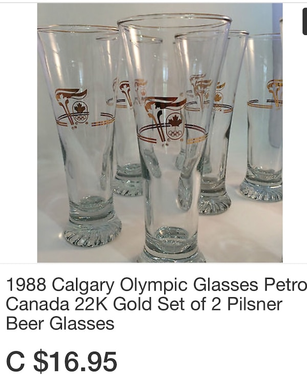 Olympic 22K Gold Pilsner Glasses